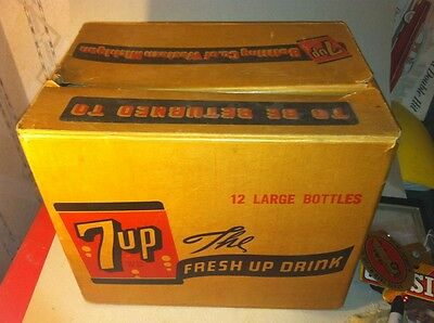 1950s 7 UP soda Pop Case Carton Bottle Container Box advertising sign Brooks Co