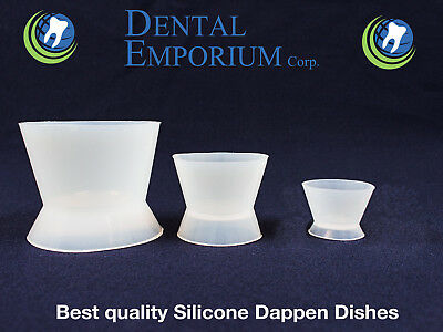 NEW DENTAL LAB FLEXIBLE SILICONE DAPPEN DISH MIXING BOWL CUP 3PC KIT 100/30/6ml