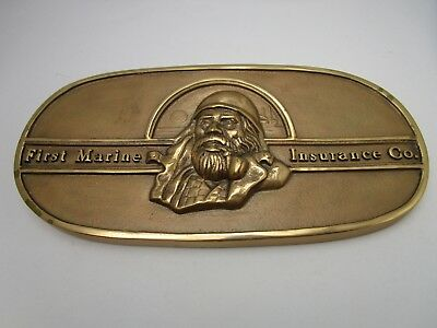 Vintage Cast Iron Bronze Colored First Marine Insurance Advertising Plaque