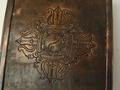 Antique Tibetan Buddhist Copper Gau Pendant Amulet Box With Tsa Tsa