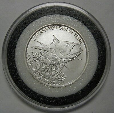 2014 Tokelau $2.00 Two Dollar 1/2 oz .999 Fine Silver Coin Kakhai Yellowfin Tuna