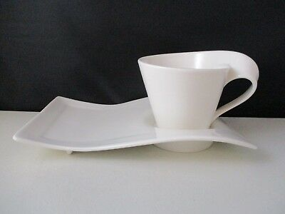 """Villeroy Boch New Wave Cappuccino Cup (3"""" X 3 7/8"""") And Party Plate -1403C"""
