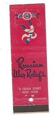 WWII Matchbook Cover RUSSIAN WAR RELIEF New York NY #332