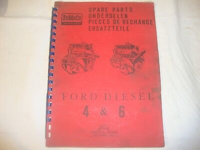 Original Ford Fordson Tractor 4 & 6 Cylinder Engines Parts Book 1965