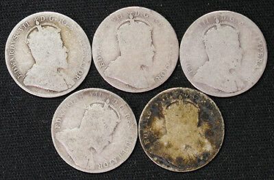 Lot of 5 Canada 10 Cents silver coins 1902, 1906, 1907 x2, 1910 Edward VII