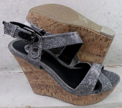 84c8007eb0 NEW Guess Womens Elsie Silver Platform Wedge Heels Sandals Shoes size mm  6.5 M*
