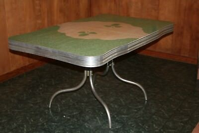 vintage 1950's kitchen table, chrome with Formica top, green w leaf pattern