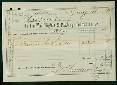 1892 West Virginia & Pittsburgh Railroad Co. Receipt Printed on Old Invoice
