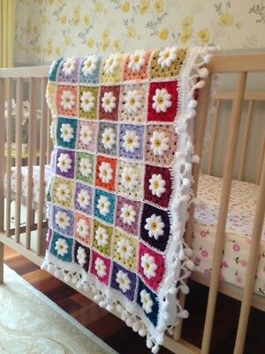 Colorful  handmade knitted/Chrochet colorful baby blanket/throw