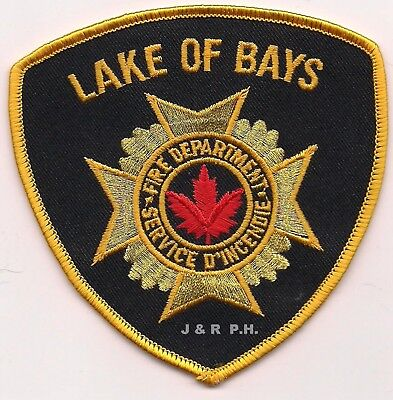 """Lake of Bays Fire Dept., Ontario, Canada  gold (4"""" x 4"""" size)  fire patch"""
