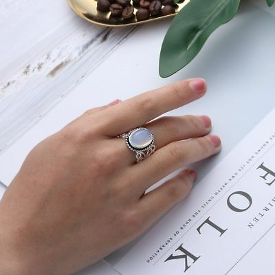Jewelry Women Rainbow Moonstone Ring Oval Silver Plated Natural Gemstone Hot