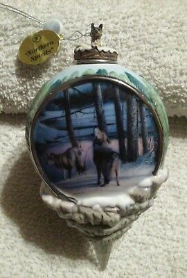 "ORNAMENT: Bradford Edition: WOLF: ""Northern Spirits"" two wolves in trees howling"