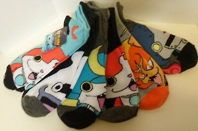 YOKAI Watch socks, Kids M/L, Shoe Size 3-10, No Show 6 pairs NWT NEW