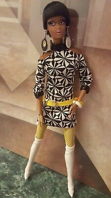 "Pop Life Dark skinned African American 12""  Doll with Long Legs 70's DRESS"