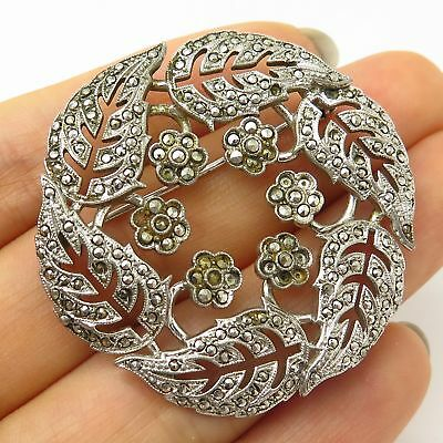 Vtg 925 Sterling Silver Real Marcasite Gem Floral Wreath Design Pin Brooch