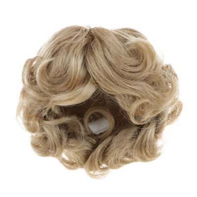 Imitation Mohair Short Curly Wig for Uncle Doll DIY Making Accs Light Brown