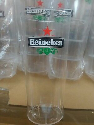 8 X Heineken reusable plastic premier pint drinking glasses new