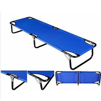 Military Camping Folding Cot Bed Outdoor Portable Sleeping Hiking Travel Blue