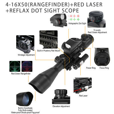 4-12X50EG Rangefinder Reticle Rifle Scope Red Laser & Dot Sight Combo 20mm Rail