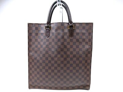 7567c89f57cc6 AUTHENTIC LOUIS VUITTON Damier Ebene Sac Plat Hand Bag Vintage r1179 ...