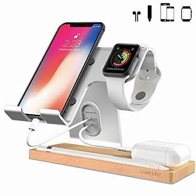 Cell Phone Stand Apple Watch Stand Dock Cradle Holder For All Smartphone Silver