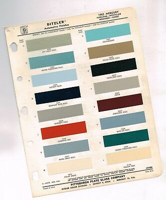 1965 Mercury COLOR CHIP SAMPLE PAINT CHART Brochure: Monterey/Monticlair/Comet/
