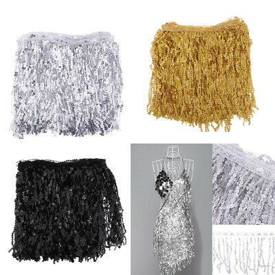 5.9m Sequin Tassel Trim Luxury Fringe Dancing Dress Sewing Material Fabric