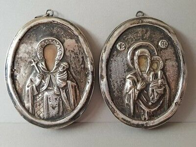 ANTIQUE PAIR RARE ORTHODOX SILVER Greek ICONS Saint Stylianos and Virgin Mary
