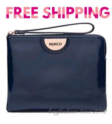 Free Post Mimco Echo Twilight Navy Blue Rose Medium Pouch Patent Leather Rrp99.9