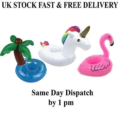 Inflatable Floating Swimming Unicorn Pool Beach Drink Can Cup Holder 1,2,6Pcs UK