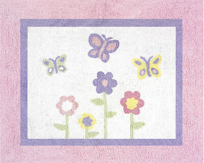 Girls Baby Kid Floor Rug for Sweet Jojo Pink Purple Butterfly Flower Bedding Set
