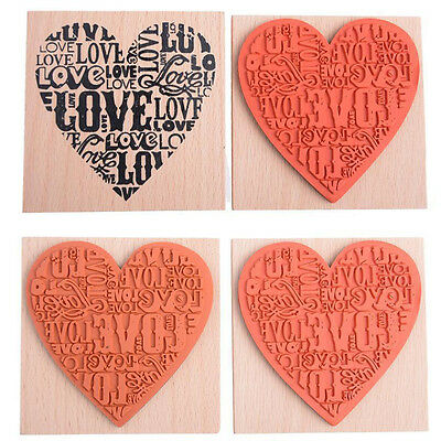Wooden Rubber Love Heart Stamp For Diary Scrapbooking Card Making DIY Craft MW