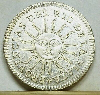 Argentina Real 1824-DS Choice Almost Uncirculated