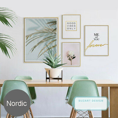 Modern Nordic Green Leaf Flower Canvas Art Poster Print Wall Picture Home Decor