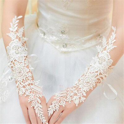 New White/Ivory Lace Long Fingerless Wedding Accessory Bridal Party Gloves Ws