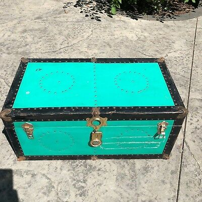 "Vintage 31""L x 14""W Metal Steamer Trunk Case Storage Box Chest Circle Grommets"