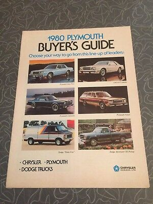 1980 Plymouth Buyer's Guide Car Auto Dealership Advertising Brochure