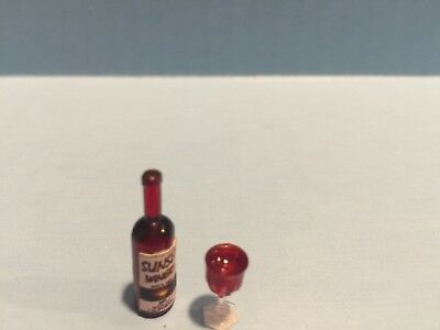 Dollhouse Miniature Bottle of Red Wine and Glass