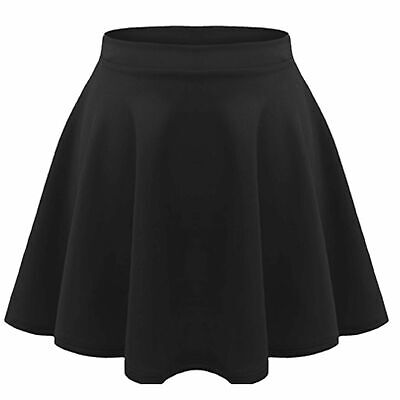 Kids Girls Flared High Waisted Stretch Skater Stretch Jersey School Skirts 7to16