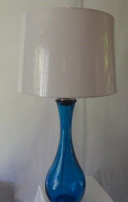 Teardrop Sapphire Blue Glass Table Lamp 28 With Shade Spanish