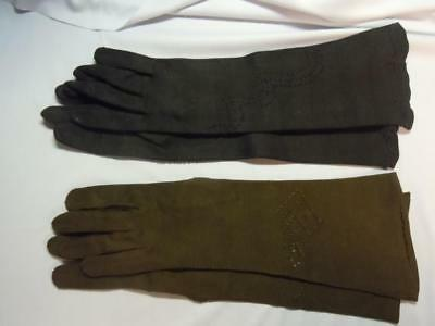 Dl] 2 Pair Of Vintage Mid-Length Ladies Gloves - Italy - Size 7-7 1/2