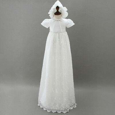 Infant Baby Girl Ivory Baptism Dress Embroidery Long Christening Gown Bonnet
