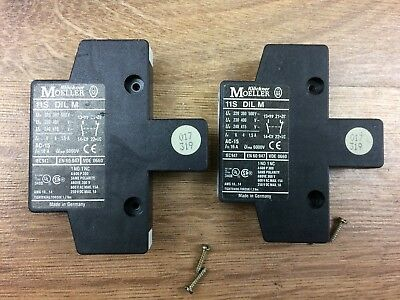 2 x KLOCKNER MOELLER 11S DILM Contactor Mounted Side Contacts With Screws