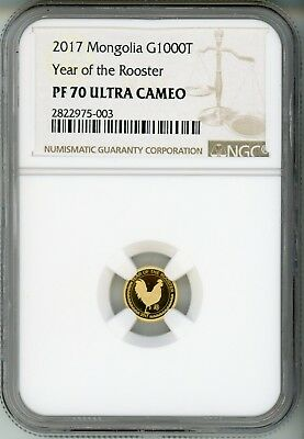 2017 Mongolia - Year Of The Rooster - Ngc Pf 70 - G1000T - Pop 13