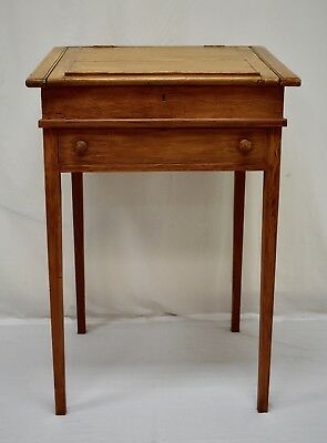 English Antique Pine Grain-Painted Writing Slope on Stand