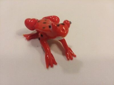 Hand Blown Glass Frog Figurine Statue Small in Size Collectible Red Amphibian