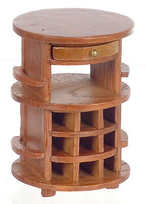 """Dollhouse Miniature Serving Table Round  Pecan Wood Abt 3""""T 1:12 Scale"""