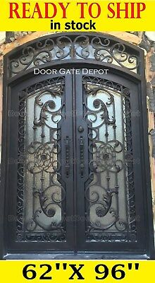 Wrought Iron Front Doors With Tempered Glass 62''x96'' Dgda1200