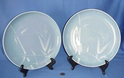 Lot of 2 Vintage Winfield Blue Pacific Large Dinner Plates Bamboo Pattern
