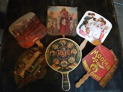 Lot 6 Vintage Antique Hand fan Advertising Cardboard RCA Shrine Religious Mount